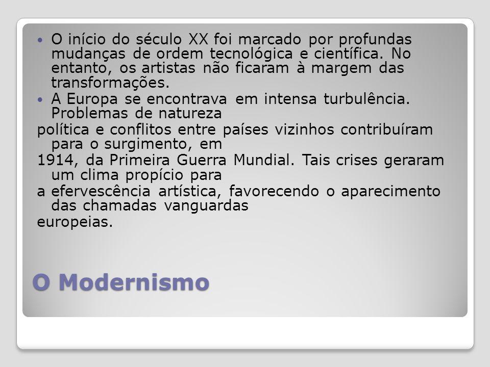 O Modernismo O início do século XX foi marcado por profundas mudanças de ordem tecnológica e científica.