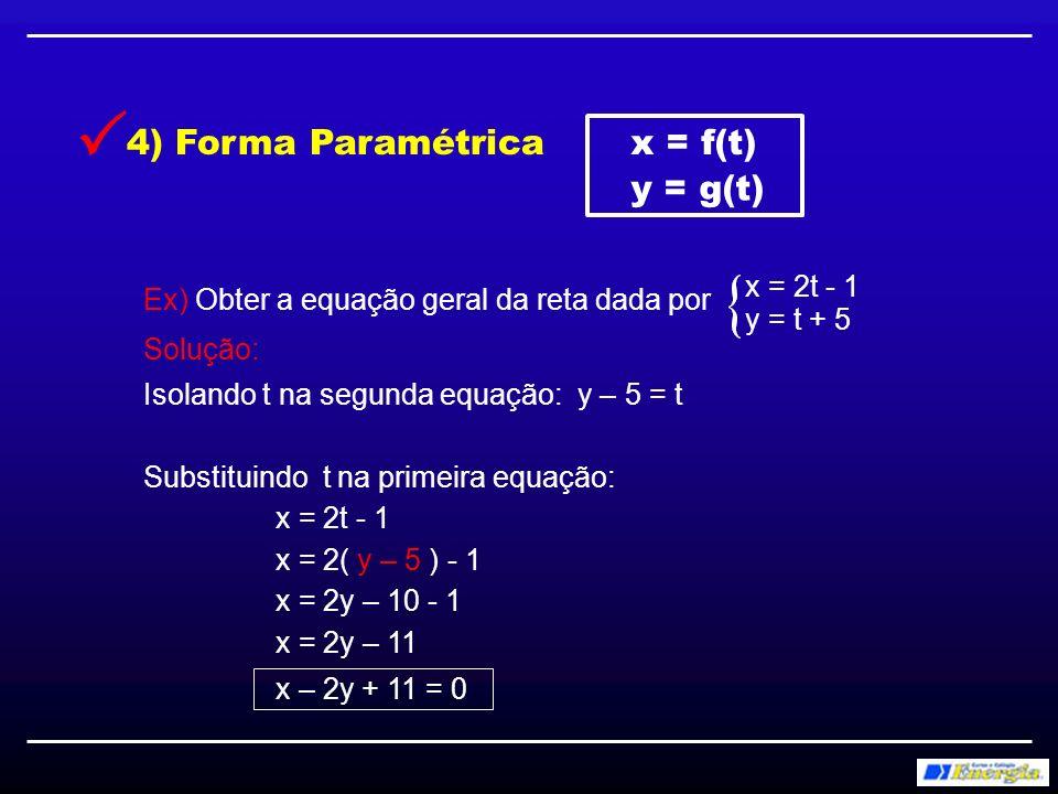Ex) Obter a equação geral da reta abaixo: Solução: 5) Equação do feixe y – y = m(x – x ) oo m = Coef.