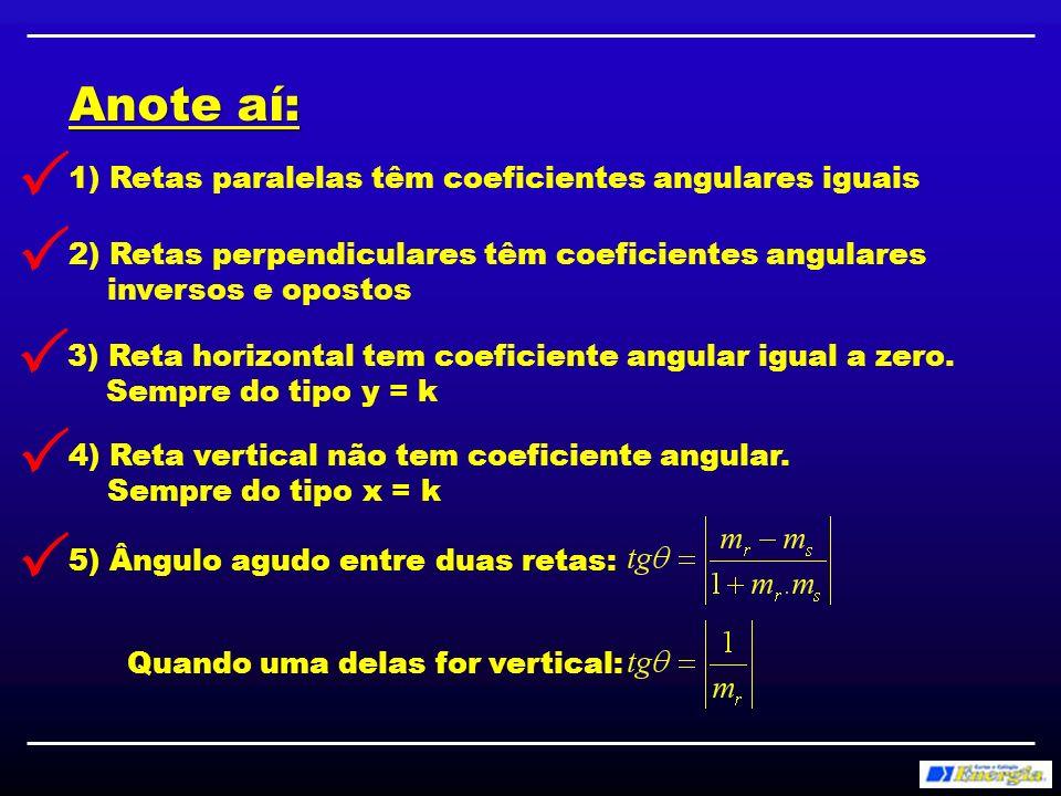 Anote aí: 6) Distância entre ponto e reta: 7) Distância entre duas retas paralelas: Escolher um ponto de uma reta e calcular a sua distância até a outra reta, ou Usar a fórmula: B(x, y ) B B 8) Coef.