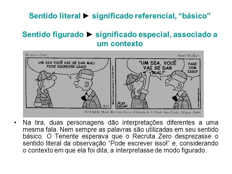 Sentido literal significado referencial, básico Sentido figurado significado especial, associado a um contexto Na tira, duas personagens dão interpret