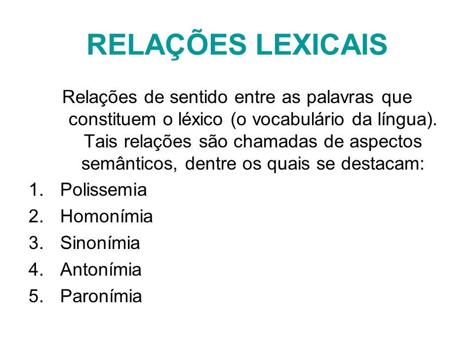 RELAÇÕES LEXICAIS Relações de sentido entre as palavras que constituem o léxico (o vocabulário da língua). Tais relações são chamadas de aspectos semâ