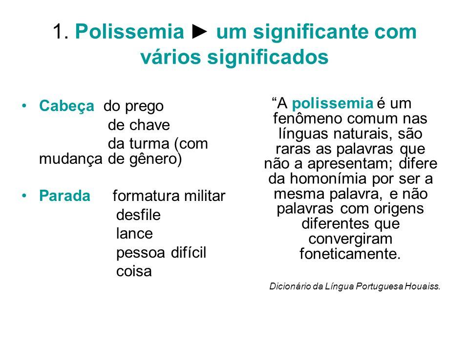 1. Polissemia um significante com vários significados Cabeça do prego de chave da turma (com mudança de gênero) Parada formatura militar desfile lance