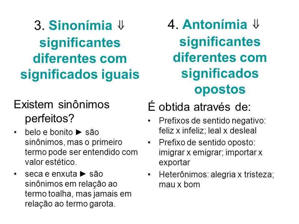 3. Sinonímia significantes diferentes com significados iguais Existem sinônimos perfeitos? belo e bonito são sinônimos, mas o primeiro termo pode ser