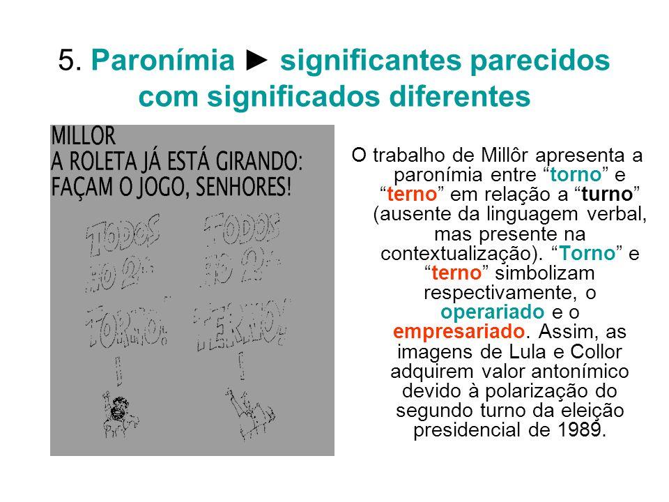5. Paronímia significantes parecidos com significados diferentes O trabalho de Millôr apresenta a paronímia entre torno eterno em relação a turno (aus