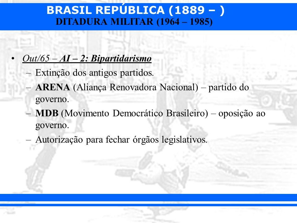 BRASIL REPÚBLICA (1889 – ) DITADURA MILITAR (1964 – 1985) Out/65 – AI – 2: Bipartidarismo –Extinção dos antigos partidos. –ARENA (Aliança Renovadora N