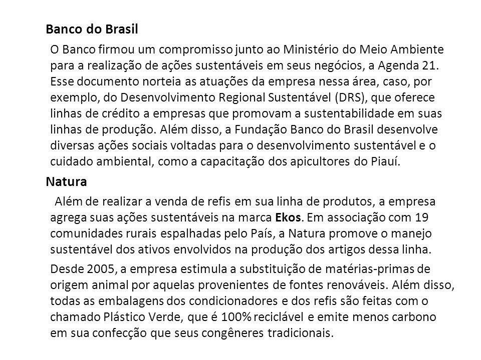 Banco do Brasil O Banco firmou um compromisso junto ao Ministério do Meio Ambiente para a realização de ações sustentáveis em seus negócios, a Agenda