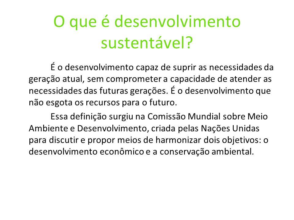 O que é desenvolvimento sustentável? É o desenvolvimento capaz de suprir as necessidades da geração atual, sem comprometer a capacidade de atender as