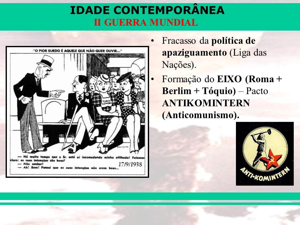 IDADE CONTEMPORÂNEA II GUERRA MUNDIAL Fracasso da política de apaziguamento (Liga das Nações). Formação do EIXO (Roma + Berlim + Tóquio) – Pacto ANTIK