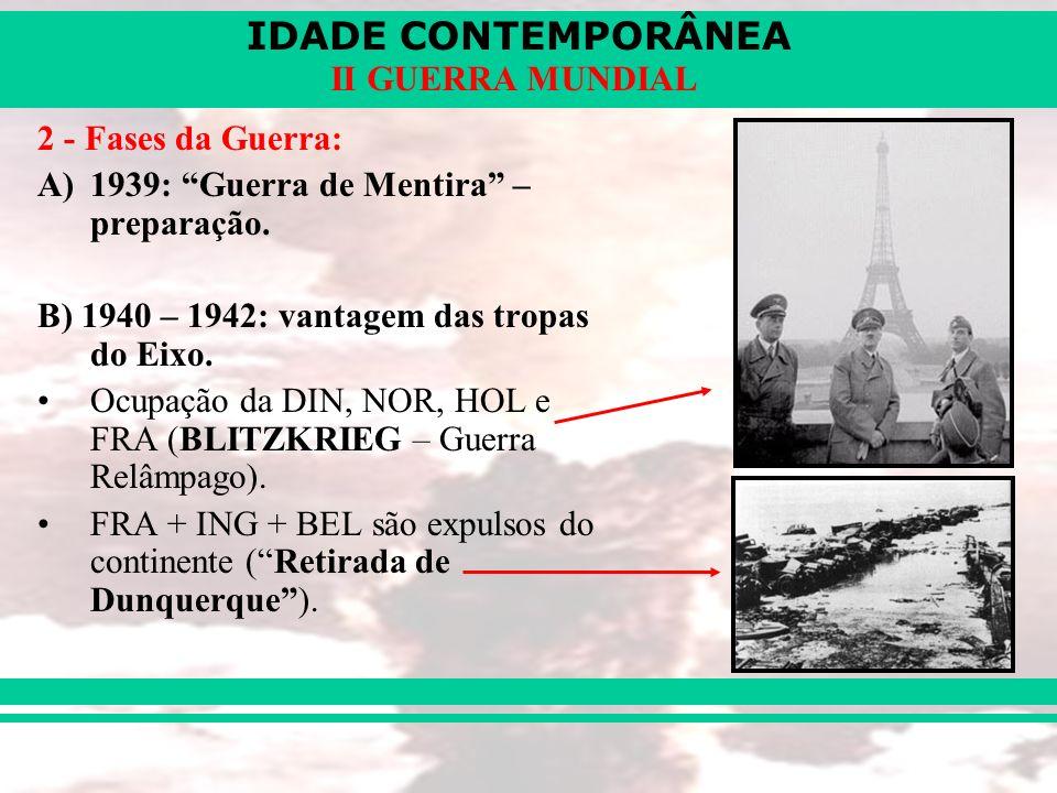 IDADE CONTEMPORÂNEA II GUERRA MUNDIAL 2 - Fases da Guerra: A)1939: Guerra de Mentira – preparação. B) 1940 – 1942: vantagem das tropas do Eixo. Ocupaç