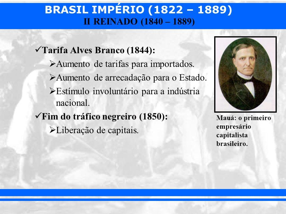 BRASIL IMPÉRIO (1822 – 1889) II REINADO (1840 – 1889) Tarifa Alves Branco (1844): Aumento de tarifas para importados. Aumento de arrecadação para o Es
