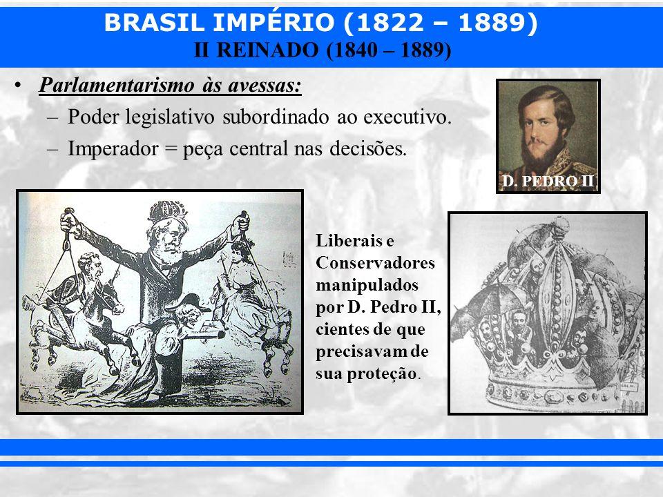 BRASIL IMPÉRIO (1822 – 1889) II REINADO (1840 – 1889) Parlamentarismo às avessas: –Poder legislativo subordinado ao executivo. –Imperador = peça centr