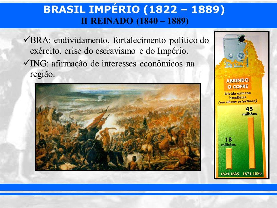 BRASIL IMPÉRIO (1822 – 1889) II REINADO (1840 – 1889) Questão militar: –Exército desprestigiado pelo governo: baixos soldos, pouca aparelhagem e investimentos.