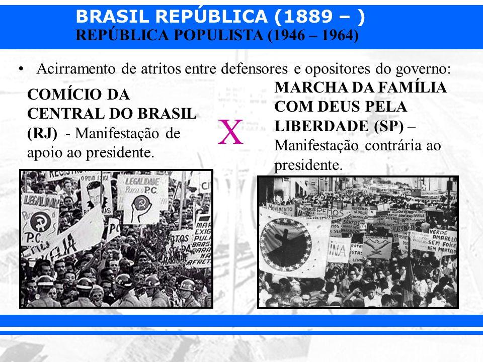 BRASIL REPÚBLICA (1889 – ) REPÚBLICA POPULISTA (1946 – 1964) Acirramento de atritos entre defensores e opositores do governo: COMÍCIO DA CENTRAL DO BR