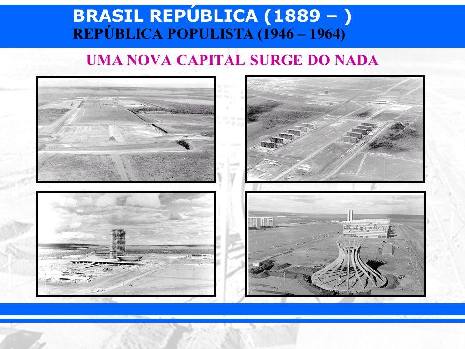 BRASIL REPÚBLICA (1889 – ) REPÚBLICA POPULISTA (1946 – 1964) UMA NOVA CAPITAL SURGE DO NADA