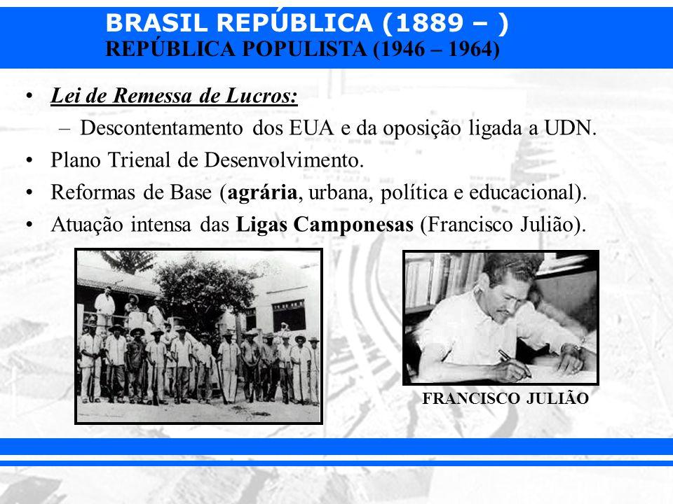 BRASIL REPÚBLICA (1889 – ) REPÚBLICA POPULISTA (1946 – 1964) Lei de Remessa de Lucros: –Descontentamento dos EUA e da oposição ligada a UDN. Plano Tri