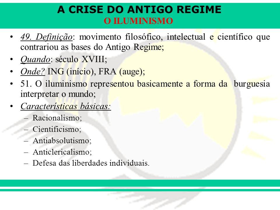 A CRISE DO ANTIGO REGIME O ILUMINISMO ADAM SMITH (ING): –Pai da economia.