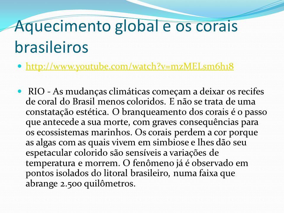 Aquecimento global e os corais brasileiros http://www.youtube.com/watch?v=mzMELsm6h18 RIO - As mudanças climáticas começam a deixar os recifes de cora