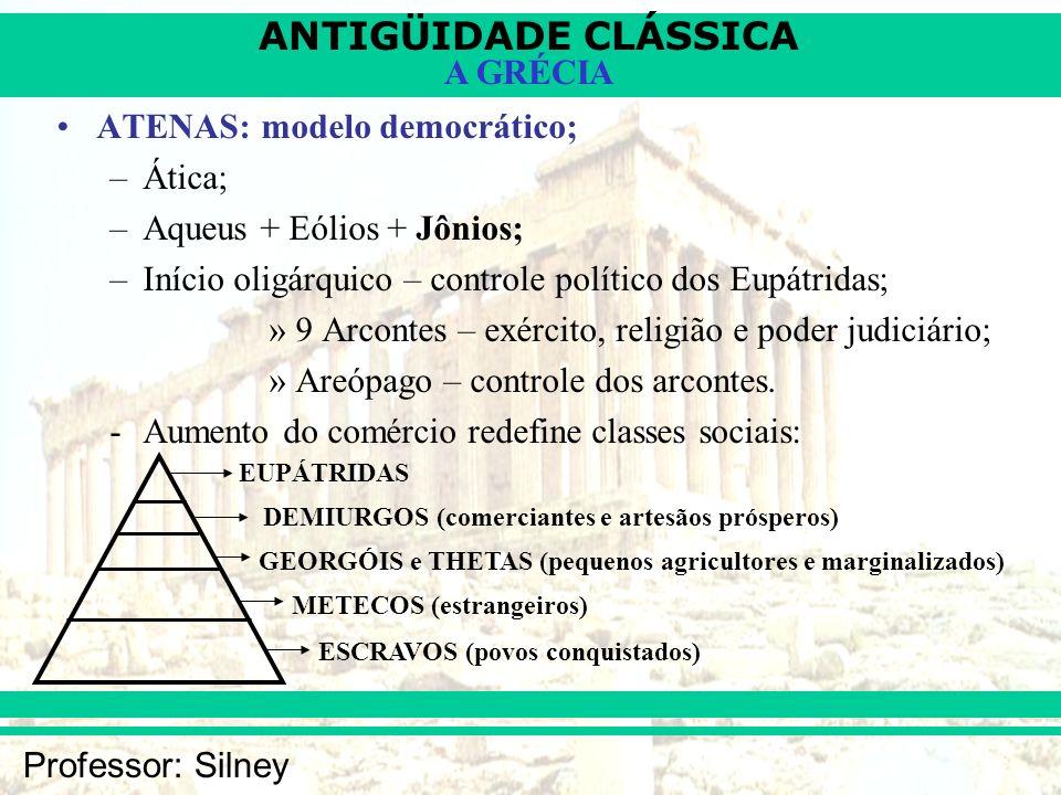 ANTIGÜIDADE CLÁSSICA Professor: Silney A GRÉCIA ATENAS: modelo democrático; –Ática; –Aqueus + Eólios + Jônios; –Início oligárquico – controle político