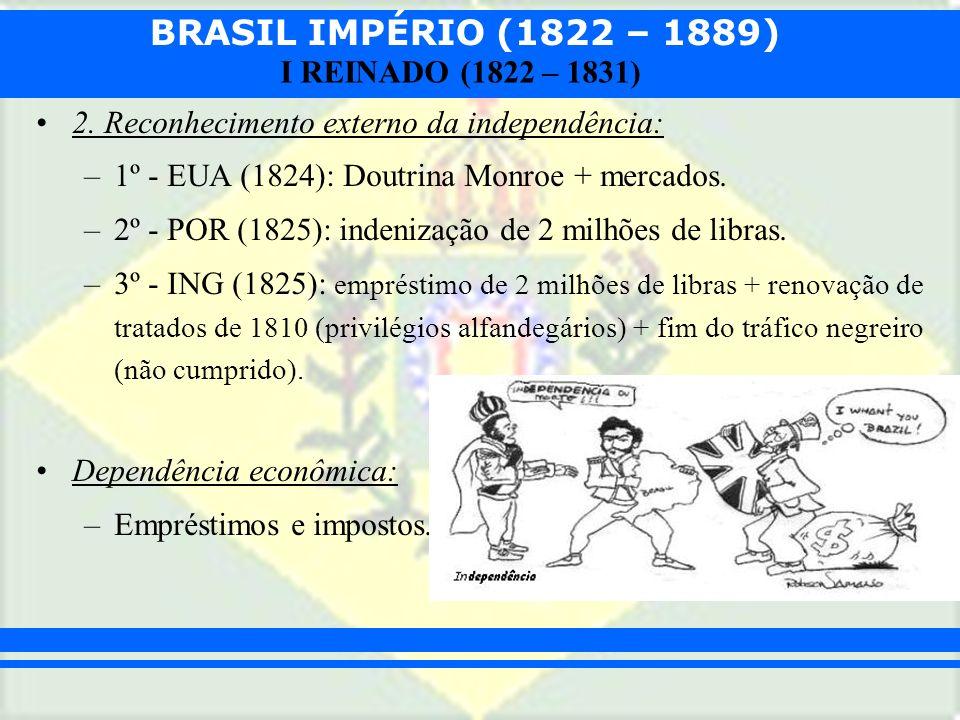 BRASIL IMPÉRIO (1822 – 1889) I REINADO (1822 – 1831) 2. Reconhecimento externo da independência: –1º - EUA (1824): Doutrina Monroe + mercados. –2º - P