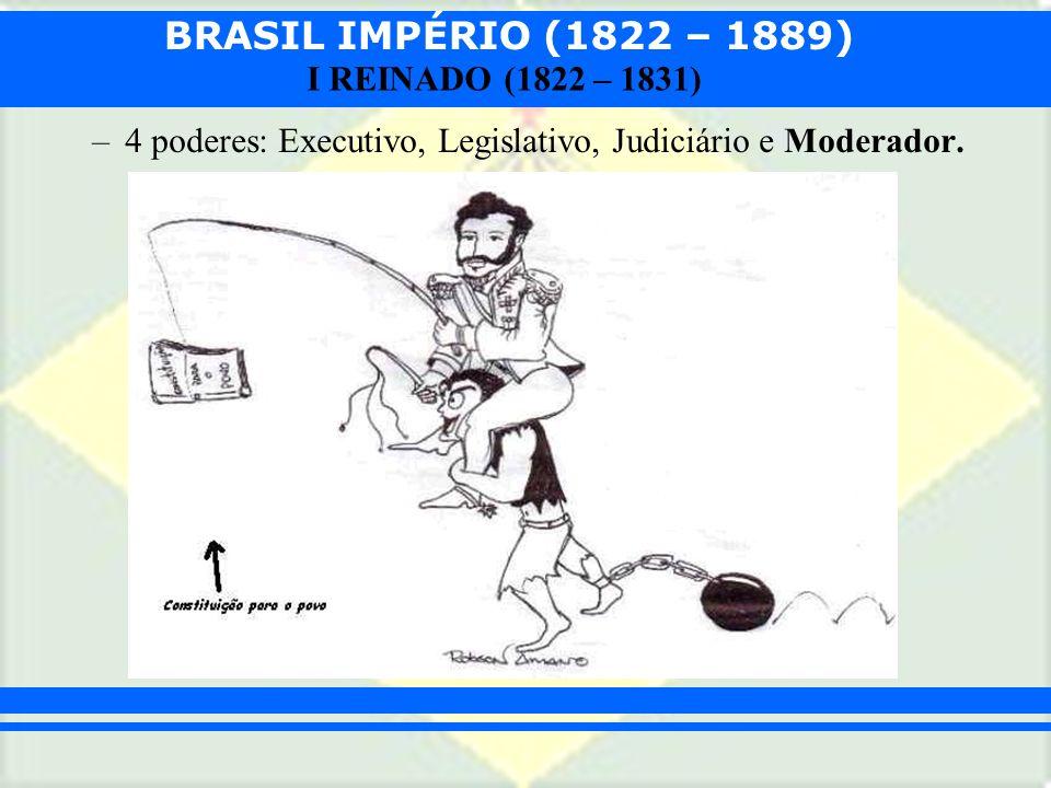 BRASIL IMPÉRIO (1822 – 1889) I REINADO (1822 – 1831) –4 poderes: Executivo, Legislativo, Judiciário e Moderador.