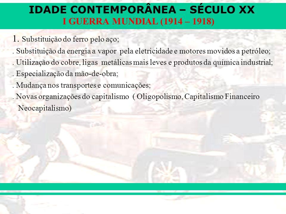 IDADE CONTEMPORÂNEA – SÉCULO XX I GUERRA MUNDIAL (1914 – 1918) 1. Substituição do ferro pelo aço;. Substituição da energia a vapor pela eletricidade e