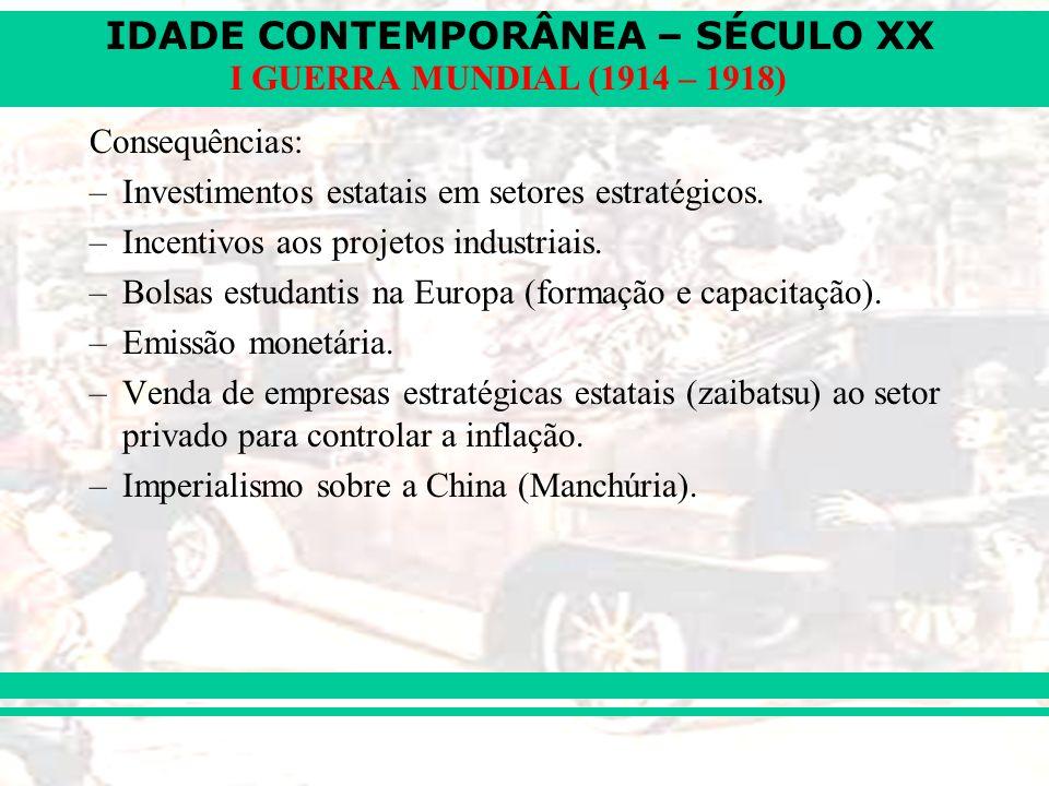 IDADE CONTEMPORÂNEA – SÉCULO XX I GUERRA MUNDIAL (1914 – 1918) Consequências: –Investimentos estatais em setores estratégicos. –Incentivos aos projeto