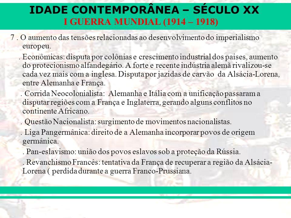 IDADE CONTEMPORÂNEA – SÉCULO XX I GUERRA MUNDIAL (1914 – 1918) 7. O aumento das tensões relacionadas ao desenvolvimento do imperialismo europeu.. Econ