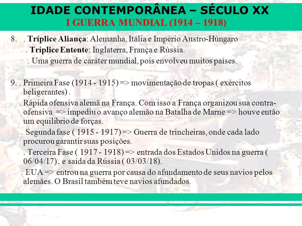 IDADE CONTEMPORÂNEA – SÉCULO XX I GUERRA MUNDIAL (1914 – 1918) 8.. Tríplice Aliança: Alemanha, Itália e Império Austro-Húngaro. Tríplice Entente: Ingl