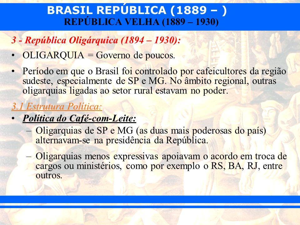 BRASIL REPÚBLICA (1889 – ) REPÚBLICA VELHA (1889 – 1930) 3 - República Oligárquica (1894 – 1930): OLIGARQUIA = Governo de poucos. Período em que o Bra