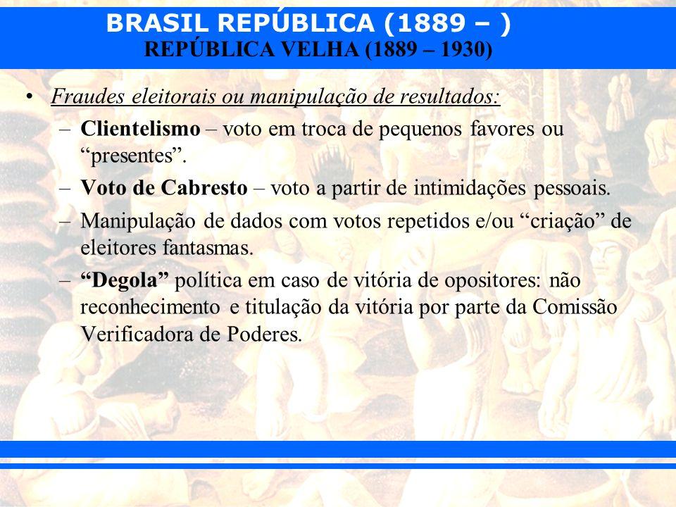 BRASIL REPÚBLICA (1889 – ) REPÚBLICA VELHA (1889 – 1930) Fraudes eleitorais ou manipulação de resultados: –Clientelismo – voto em troca de pequenos fa