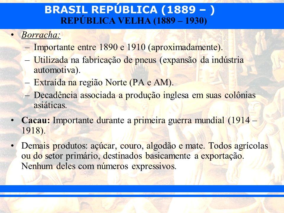BRASIL REPÚBLICA (1889 – ) REPÚBLICA VELHA (1889 – 1930) Indústria: –Impulsionada pela I Guerra Mundial (1914 – 1918).
