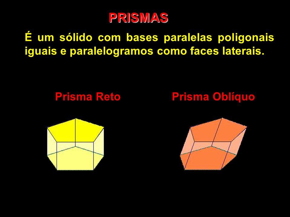 PRISMAS É um sólido com bases paralelas poligonais iguais e paralelogramos como faces laterais. Prisma RetoPrisma Oblíquo