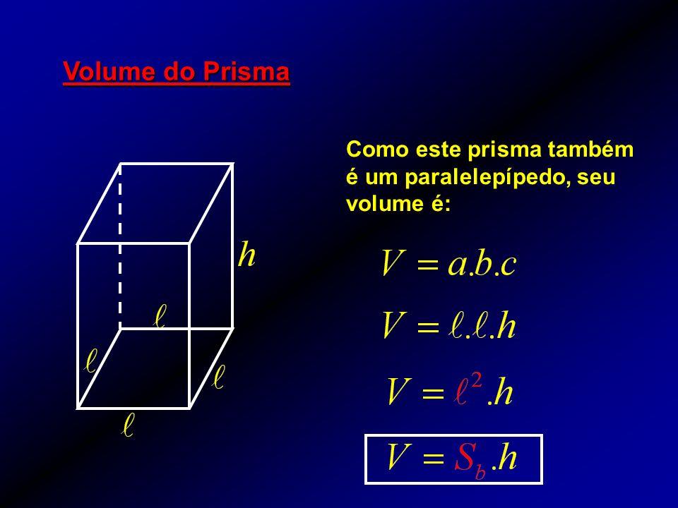 Volume do Prisma Como este prisma também é um paralelepípedo, seu volume é: