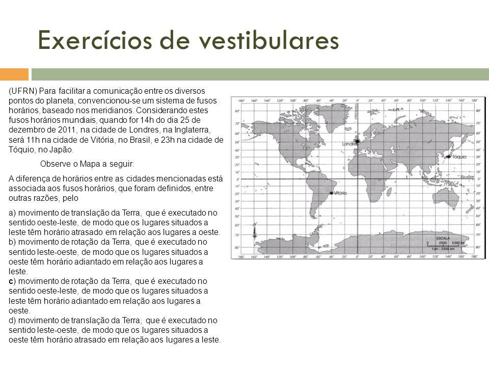Exercícios de vestibulares (UFRN) Para facilitar a comunicação entre os diversos pontos do planeta, convencionou-se um sistema de fusos horários, base