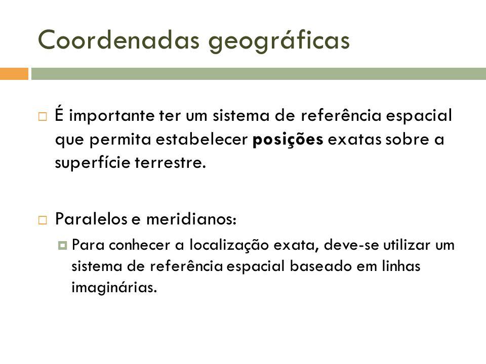 Coordenadas geográficas É importante ter um sistema de referência espacial que permita estabelecer posições exatas sobre a superfície terrestre. Paral