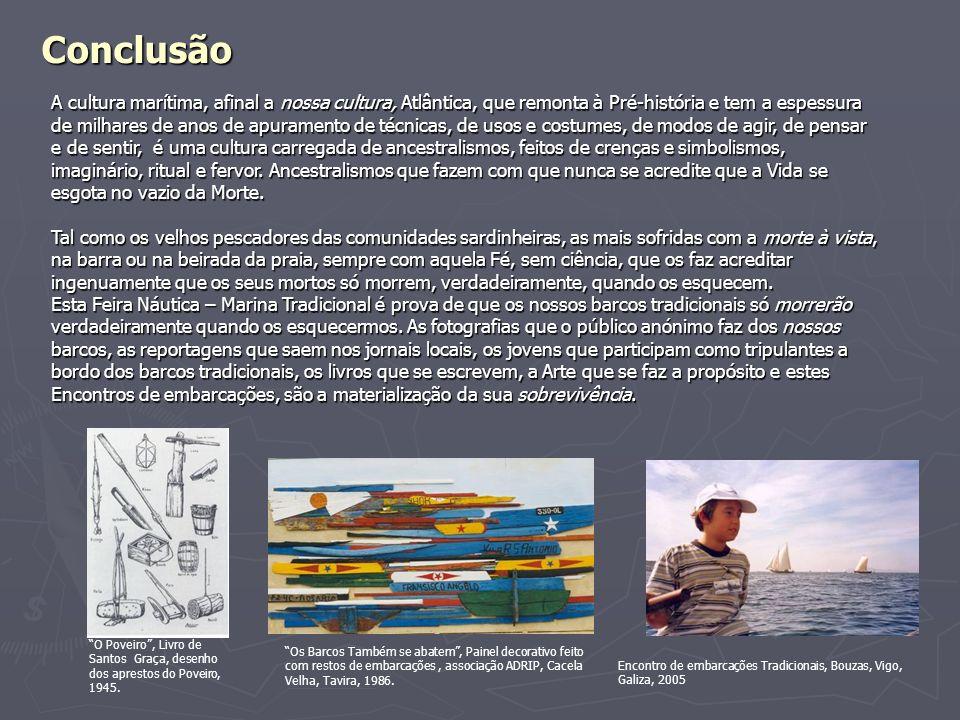 Conclusão O Poveiro, Livro de Santos Graça, desenho dos aprestos do Poveiro, 1945. Os Barcos Também se abatem, Painel decorativo feito com restos de e
