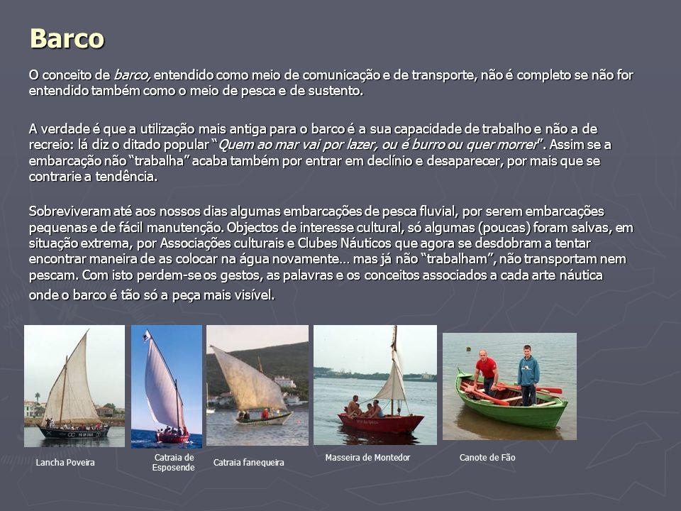 Barco O conceito de barco, entendido como meio de comunicação e de transporte, não é completo se não for entendido também como o meio de pesca e de su