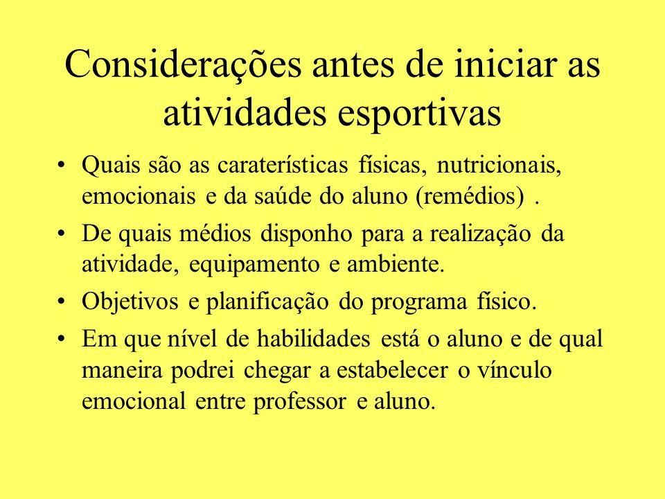 Considerações antes de iniciar as atividades esportivas Quais são as caraterísticas físicas, nutricionais, emocionais e da saúde do aluno (remédios).