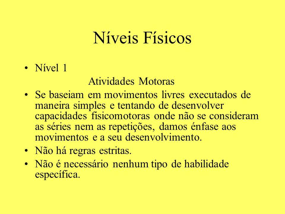 Níveis Físicos Nível 1 Atividades Motoras Se baseiam em movimentos livres executados de maneira simples e tentando de desenvolver capacidades fisicomo