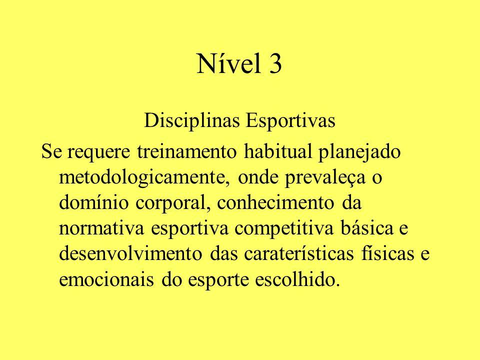 Nível 3 Disciplinas Esportivas Se requere treinamento habitual planejado metodologicamente, onde prevaleça o domínio corporal, conhecimento da normati