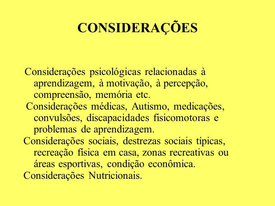 CONSIDERAÇÕES Considerações psicológicas relacionadas à aprendizagem, à motivação, à percepção, compreensão, memória etc. Considerações médicas, Autis