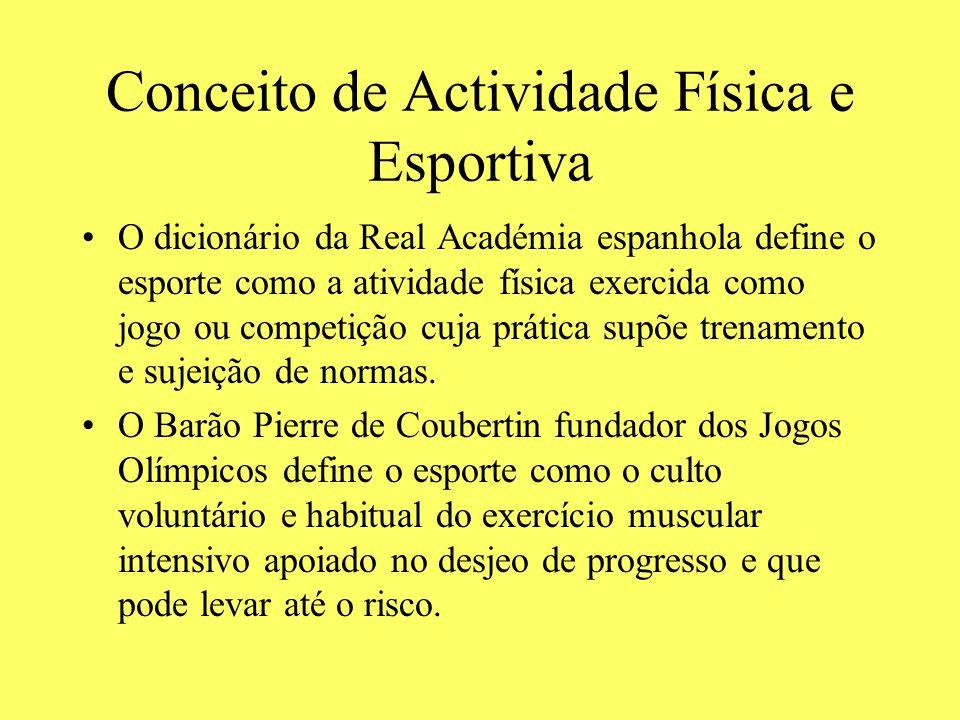Conceito de Actividade Física e Esportiva O dicionário da Real Académia espanhola define o esporte como a atividade física exercida como jogo ou compe