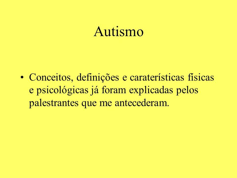 Autismo Conceitos, definições e caraterísticas físicas e psicológicas já foram explicadas pelos palestrantes que me antecederam.