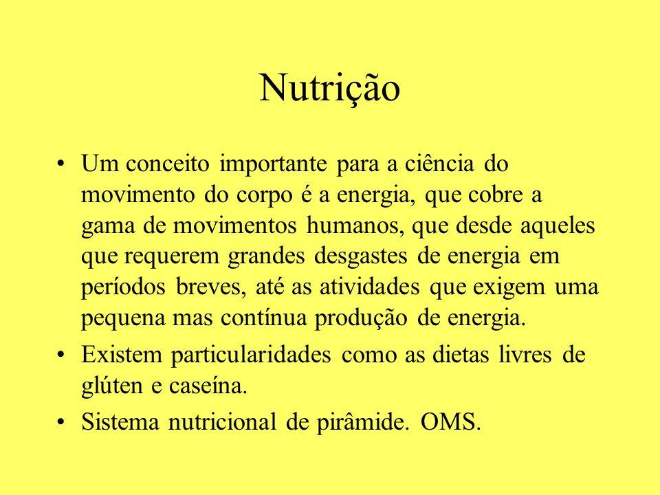 Nutrição Um conceito importante para a ciência do movimento do corpo é a energia, que cobre a gama de movimentos humanos, que desde aqueles que requer