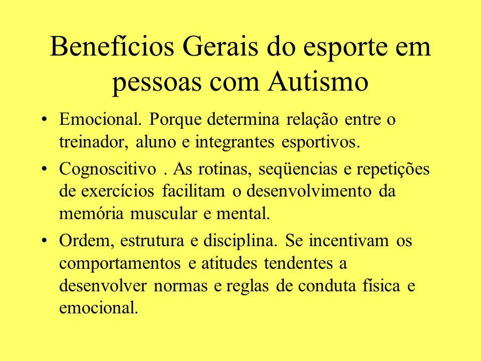 Benefícios Gerais do esporte em pessoas com Autismo Emocional. Porque determina relação entre o treinador, aluno e integrantes esportivos. Cognoscitiv