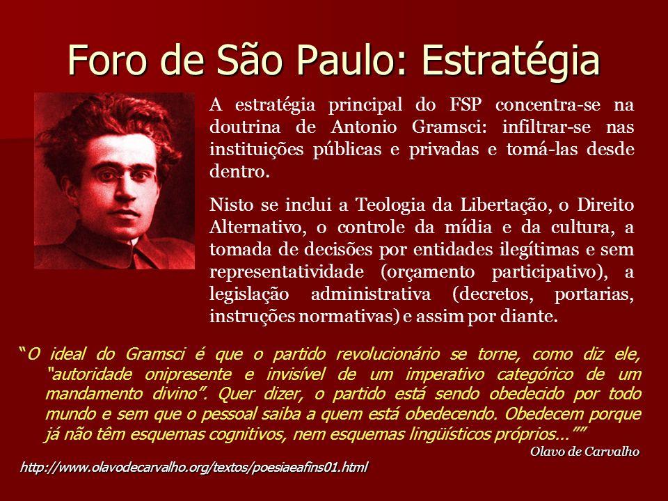 Foro de São Paulo: Estratégia O ideal do Gramsci é que o partido revolucionário se torne, como diz ele, autoridade onipresente e invisível de um imper