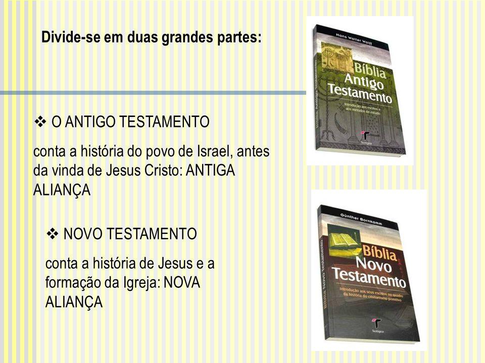 NOVO TESTAMENTO conta a história de Jesus e a formação da Igreja: NOVA ALIANÇA O ANTIGO TESTAMENTO conta a história do povo de Israel, antes da vinda