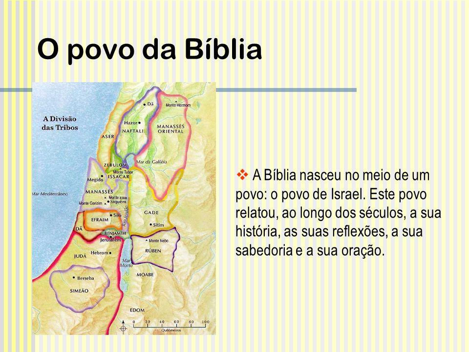 A Bíblia nasceu no meio de um povo: o povo de Israel. Este povo relatou, ao longo dos séculos, a sua história, as suas reflexões, a sua sabedoria e a