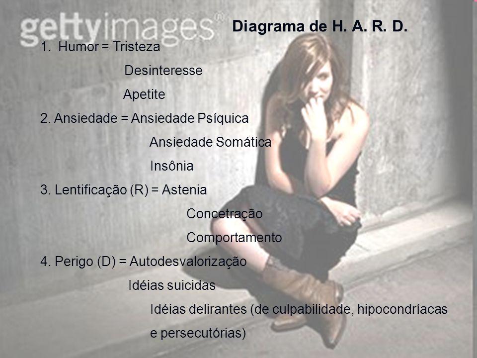 Diagrama de H. A. R. D. 1.Humor = Tristeza Desinteresse Apetite 2. Ansiedade = Ansiedade Psíquica Ansiedade Somática Insônia 3. Lentificação (R) = Ast