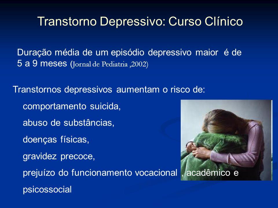 Transtorno Depressivo: Curso Clínico Duração média de um episódio depressivo maior é de 5 a 9 meses ( Jornal de Pediatria,2002) Transtornos depressivo